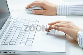 Female hands using laptop