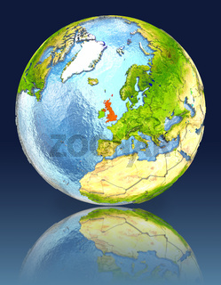 United Kingdom on globe with reflection