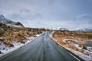 Road in Norway on Lofoten islands