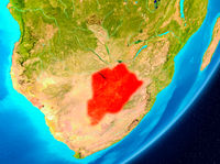 Orbit view of Botswana in red
