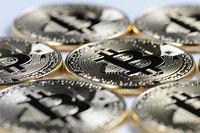 Macro view of shiny Bitcoin souvenire coins