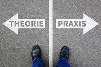 Theorie und Praxis Bildung Beruf lernen Erfolg Business Konzept