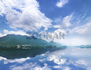Beautiful landscape with turquoise lake, forest and mountains