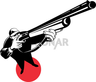 hunter aiming upwards standing on red circle