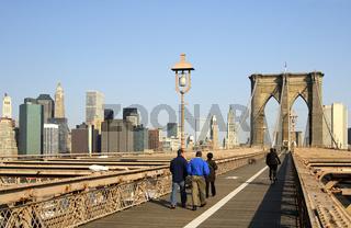 Auf der Brooklyn Bridge, Manhattan, New York, USA