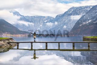 Woman enjoying alpine scenery