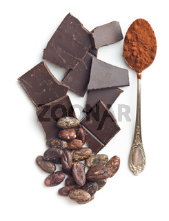 Chocolate cocoa beans and cocoa powder.