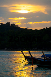 Longtail Boats Ko Lipe Coastline Sunset Sky Clouds