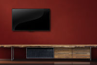 Living room led tv on red wall with wooden table modern loft style
