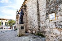 Havana, Cuba - December 12, 2016:  The Statue of Fray Junipero Serra on the Plaza de San Francisco in front of the Basilica in Havana, Cuba