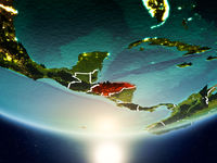 Honduras with sun on planet Earth