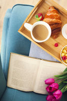 Healthy morning breakfast on tray