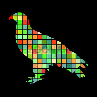 Orlan hawk bird mosaic color silhouette animal background black