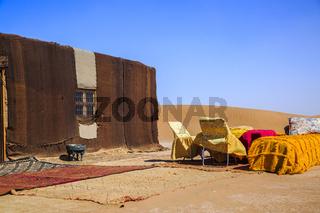 Ait Saoun, Morocco - February 22, 2016: Tent house in desert