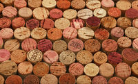 Close up background of used red wine corks
