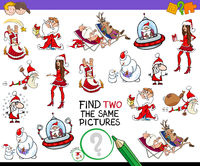 find two the same Christmas images game
