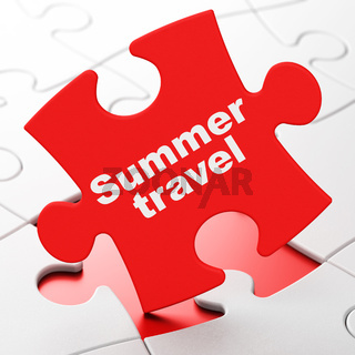 Travel concept: Summer Travel on puzzle background