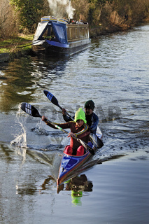 UK Berkshire Canoeists On The River