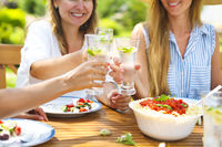 Happy female friends with glasses of lemonade at dining table in lawn