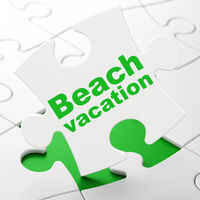 Tourism concept: Beach Vacation on puzzle background