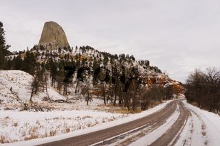 A cold winter monument in the northern state of Wyoming
