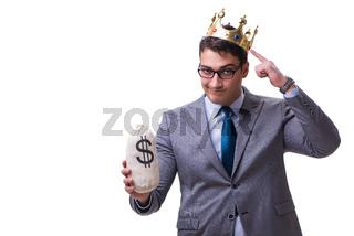 King businessman holding money bag isolated on white background