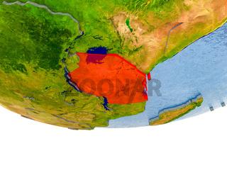Tanzania in red on Earth model