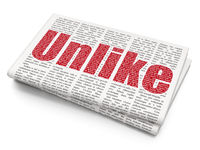 Social media concept: Unlike on Newspaper background
