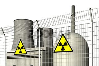 Atomkraftwerk hinter einem Sperrzaun mit Warnschildern fuer Radioaktivitaet vor weissem Hintergrund