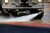 Special equipment mounted on the truck for street cleaning with water jets. cleaning of the area from paving slabs.