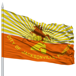 Jacksonville City Flag on Flagpole, USA