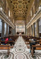 Interior of the Basilica of St Mary in Trastevere