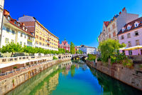 City of Ljubljana historic riverfont view
