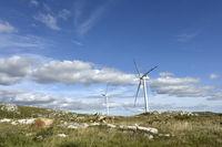 Windmills on the Sierra Carape in the Maldonado Department, Uruguay