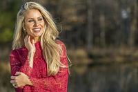 Gorgeous Blonde Model Posing Outdoors