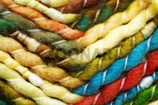 Grün/Gelbe Wolle - Nahaufnahme