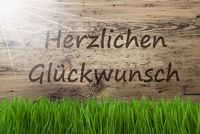 Sunny Wooden Background, Gras, Herzlichen Glueckwunsch Means Congratulations