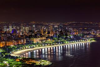 Night view of Rio de Janeiro downtown buildings