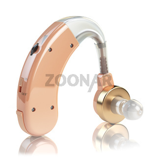 Hearing aid on white isolated background. Deaf ear aid. 3d