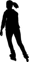Black silhouette of an athlete on roller skates on a white background