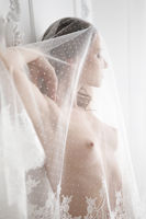 Portrait of young beautiful sexy woman in white veil.