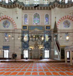 Few people praying at Suleymaniye Mosque, Istanbul, Turkey