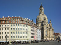 DRESDEN, GERMANY - SEPTEMBER 17, 2014: People walk in the center of Old town, near Frauenkirche (Our