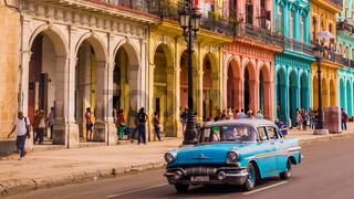 Blue oldtimer taxi in Havana, Cuba
