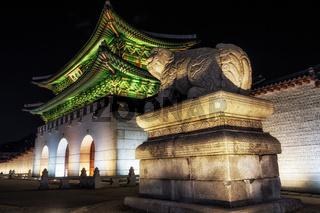 Gyeongbok Palace with Haechi at night