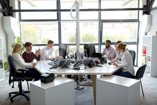 business team with computers working at office