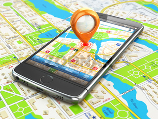 Mobile GPS navigation travel concept. Smartphonewith pin on city map.