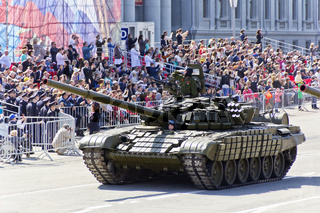 Russian military transport at the parade on annual Victory Day,