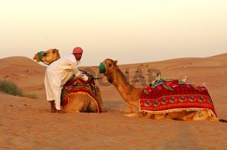 Kamelführer mit Kamelen