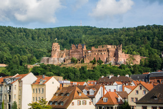Panoramic view of Heidelberg castle over the tile roofs of old town from Carl Theodor bridge, Heidelberg, Germany.
